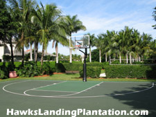 A basketball court is among the many amenities at the Hawks Landing Club.
