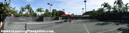 With seven lighted Har-Tru tennis courts, you should never have to wait for an available court to begin your match.